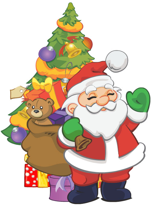 Cartoon style Santa holding a bag of toys and standing in front of the decorated Christmas tree